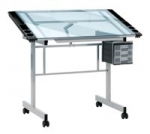 VISION TABLE SILVER & BLUE GLASS TOP